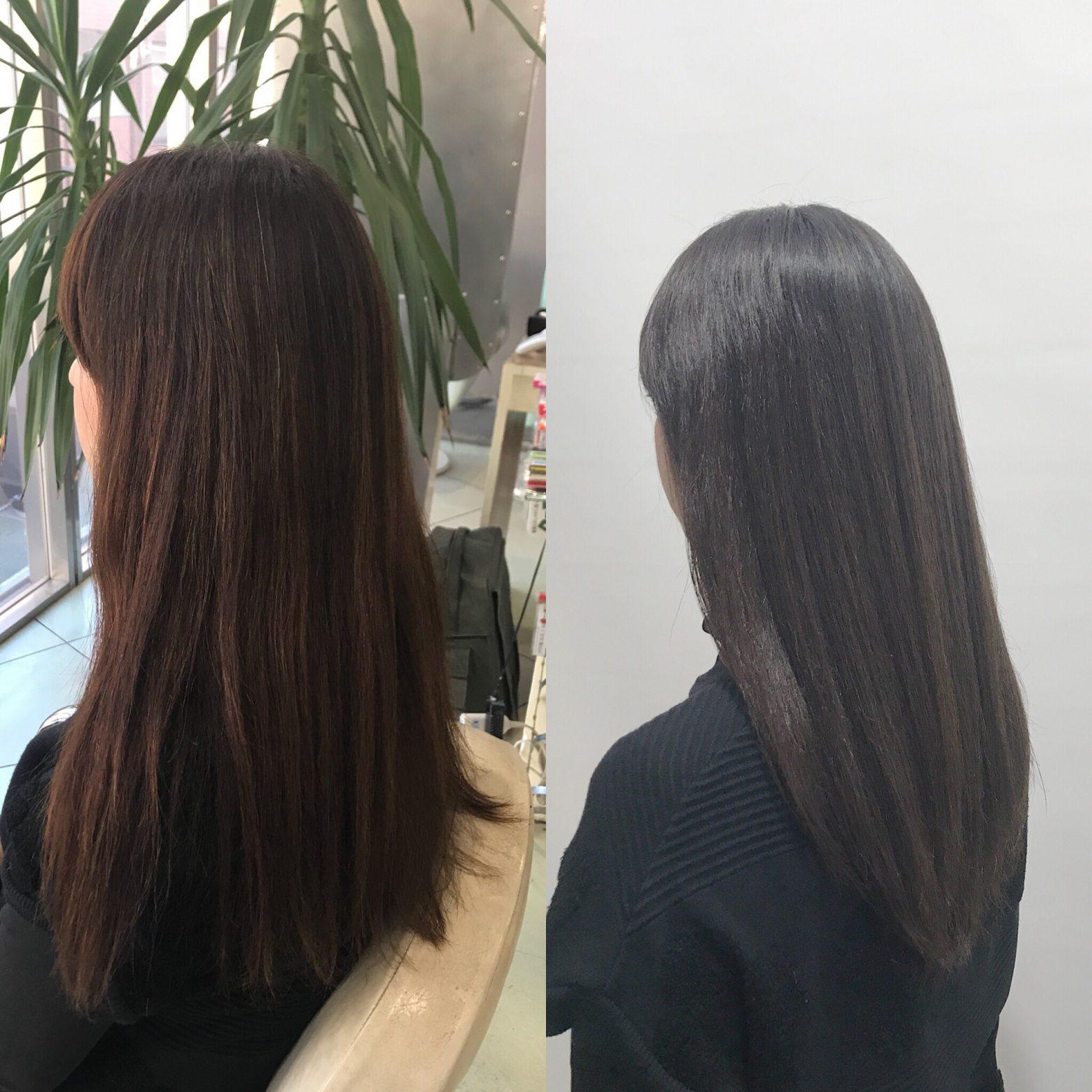 縮毛矯正+カラーをされる方のカラーメンテナンス。ここ1年でのヘアケアで髪質の変化を共感できています!